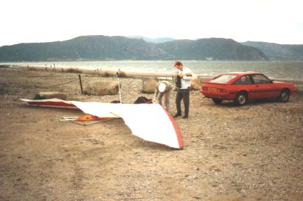 packing up after my 1st soaring flight - look at the reflex on the rear of the sail