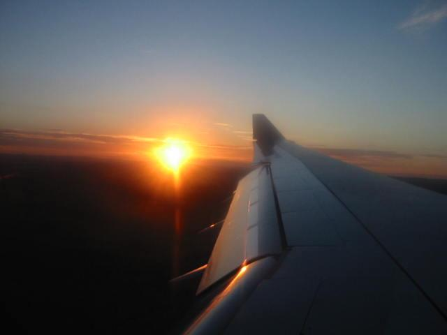 Sunrise as viewed during the final approach to Windhoek